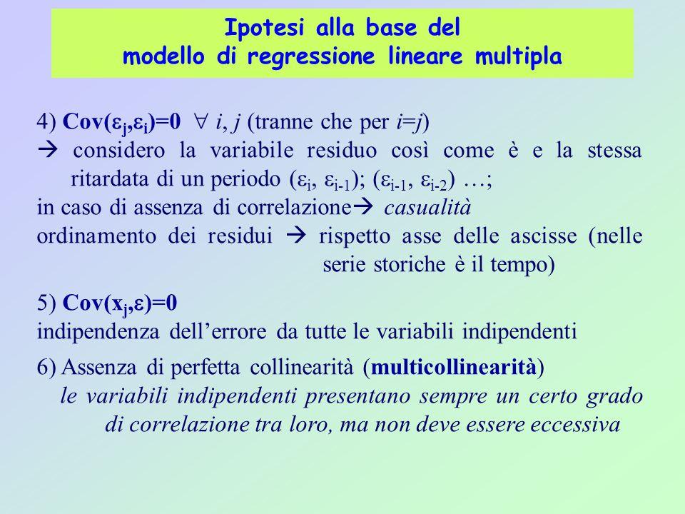 Ipotesi alla base del modello di regressione lineare multipla 4) Cov(  j,  i )=0  i, j (tranne che per i=j)  considero la variabile residuo così come è e la stessa ritardata di un periodo (  i,  i-1 ); (  i-1,  i-2 ) …; in caso di assenza di correlazione  casualità ordinamento dei residui  rispetto asse delle ascisse (nelle serie storiche è il tempo) 5) Cov(x j,  )=0 indipendenza dell'errore da tutte le variabili indipendenti 6) Assenza di perfetta collinearità (multicollinearità) le variabili indipendenti presentano sempre un certo grado di correlazione tra loro, ma non deve essere eccessiva