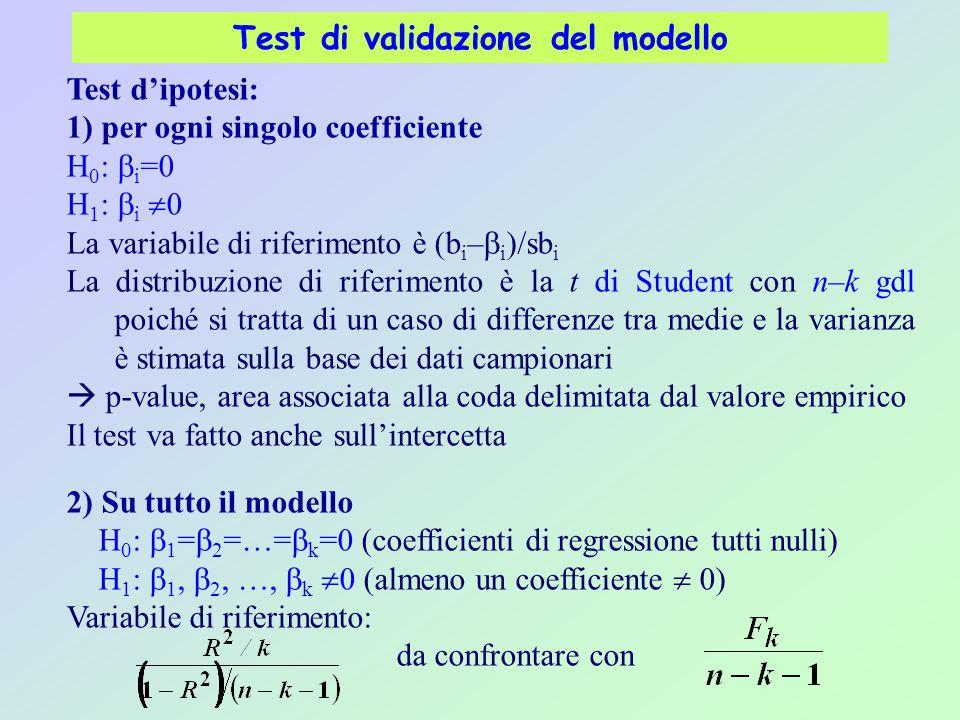 Test di validazione del modello Test d'ipotesi: 1) per ogni singolo coefficiente H 0 :  i =0 H 1 :  i  0 La variabile di riferimento è (b i –  i )/sb i La distribuzione di riferimento è la t di Student con n–k gdl poiché si tratta di un caso di differenze tra medie e la varianza è stimata sulla base dei dati campionari  p-value, area associata alla coda delimitata dal valore empirico Il test va fatto anche sull'intercetta 2) Su tutto il modello H 0 :  1 =  2 =…=  k =0 (coefficienti di regressione tutti nulli) H 1 :  1,  2, …,  k  0 (almeno un coefficiente  0) Variabile di riferimento: da confrontare con
