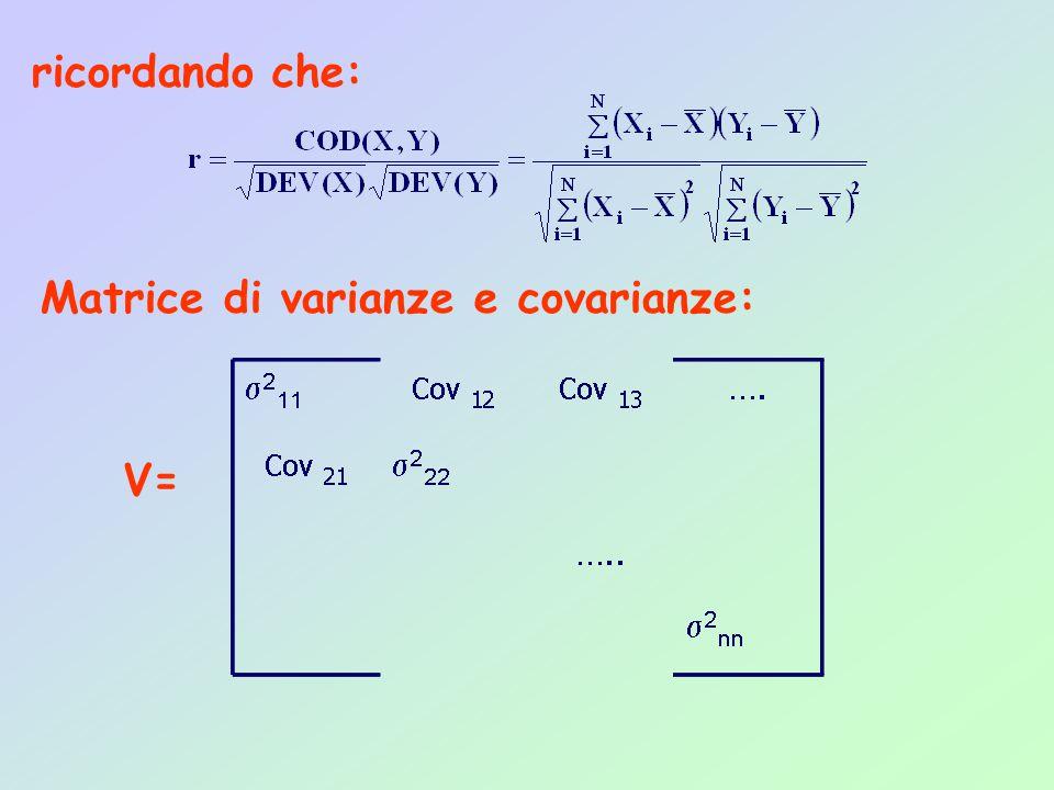ricordando che: Matrice di varianze e covarianze: V=