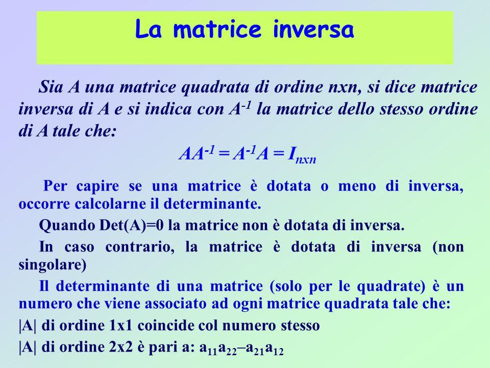 La matrice inversa Sia A una matrice quadrata di ordine nxn, si dice matrice inversa di A e si indica con A -1 la matrice dello stesso ordine di A tale che: AA -1 = A -1 A = I nxn Per capire se una matrice è dotata o meno di inversa, occorre calcolarne il determinante.