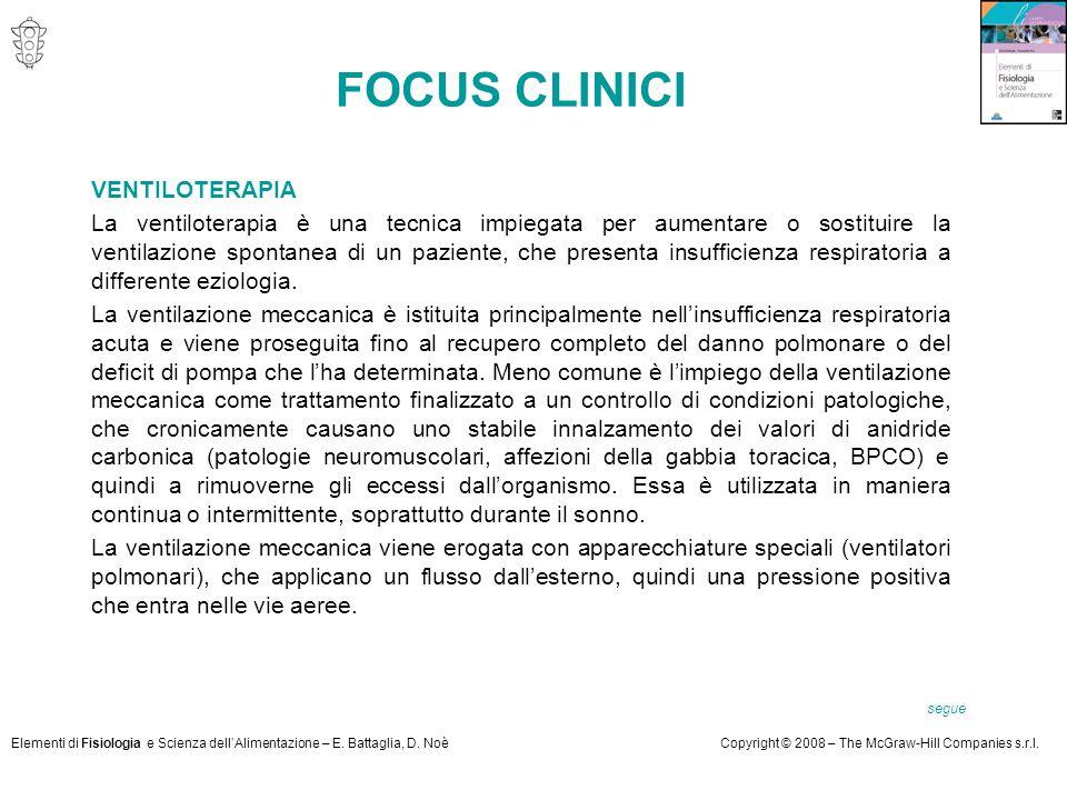 Elementi di Fisiologia e Scienza dell'Alimentazione – E. Battaglia, D. NoèCopyright © 2008 – The McGraw-Hill Companies s.r.l. VENTILOTERAPIA La ventil