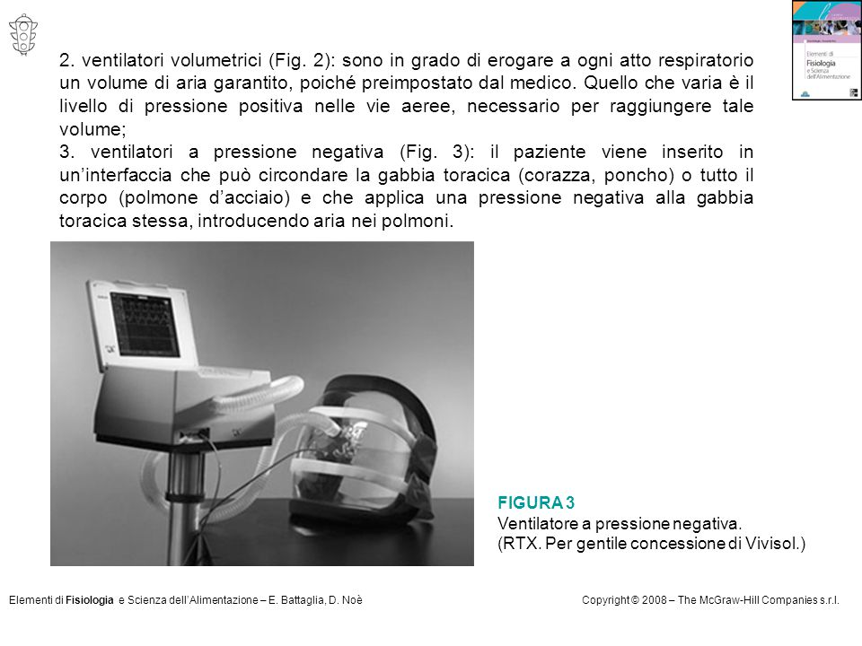 Elementi di Fisiologia e Scienza dell'Alimentazione – E. Battaglia, D. NoèCopyright © 2008 – The McGraw-Hill Companies s.r.l. 2. ventilatori volumetri
