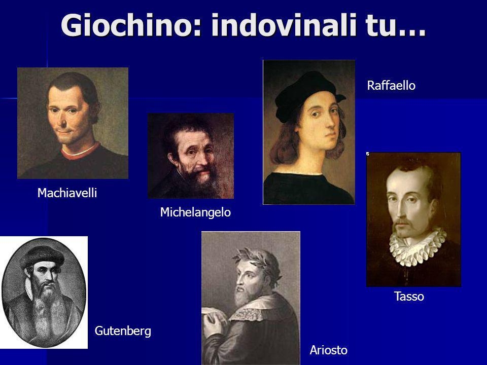 Giochino: indovinali tu… Machiavelli Gutenberg Michelangelo Ariosto Raffaello Tasso