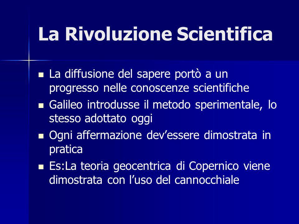 La Rivoluzione Scientifica La diffusione del sapere portò a un progresso nelle conoscenze scientifiche Galileo introdusse il metodo sperimentale, lo stesso adottato oggi Ogni affermazione dev'essere dimostrata in pratica Es:La teoria geocentrica di Copernico viene dimostrata con l'uso del cannocchiale
