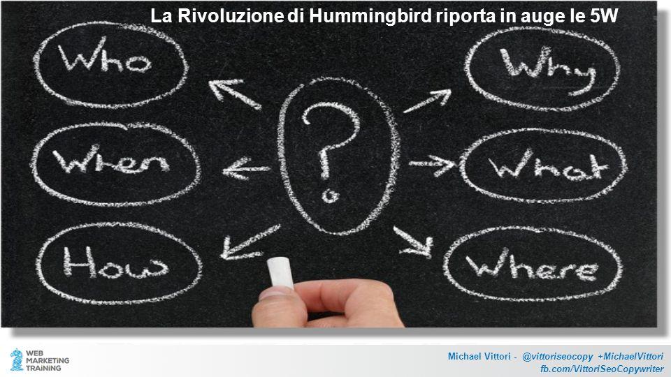 La Rivoluzione di Hummingbird riporta in auge le 5W Michael Vittori - @vittoriseocopy +MichaelVittori fb.com/VittoriSeoCopywriter