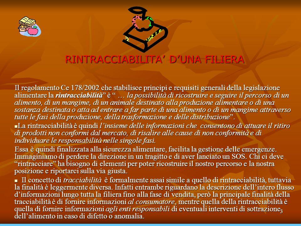 3 RINTRACCIABILITA' D'UNA FILIERA Il regolamento Ce 178/2002 che stabilisce principi e requisiti generali della legislazione alimentare la rintracciab