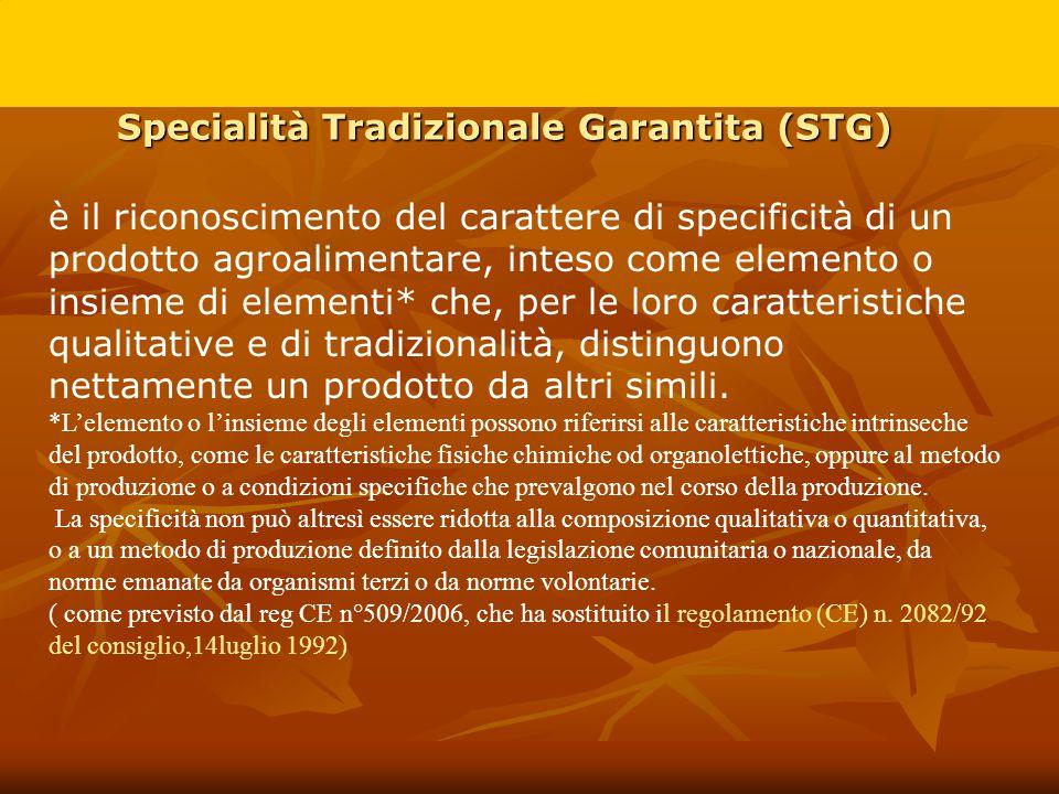 Specialità Tradizionale Garantita (STG) è il riconoscimento del carattere di specificità di un prodotto agroalimentare, inteso come elemento o insieme