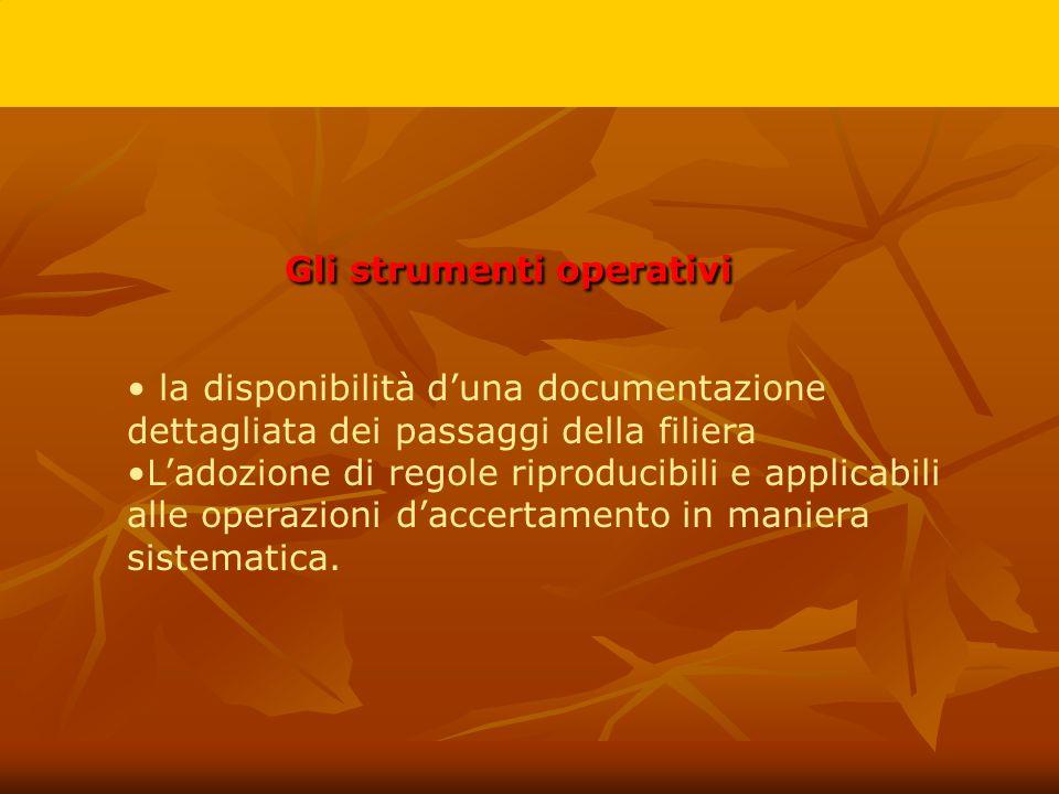 Gli strumenti operativi la disponibilità d'una documentazione dettagliata dei passaggi della filiera L'adozione di regole riproducibili e applicabili