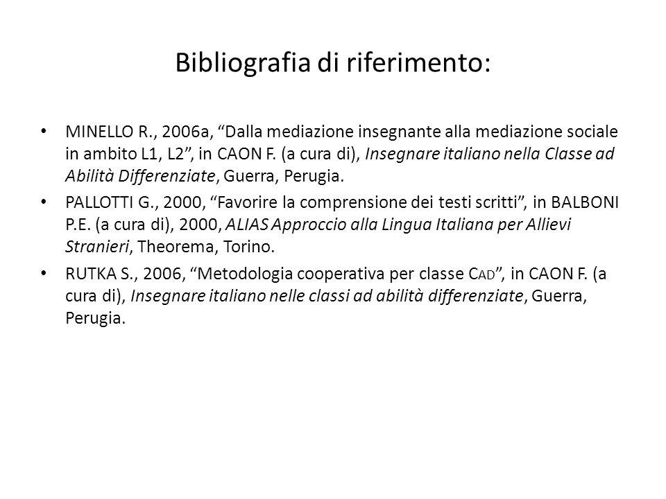 """Bibliografia di riferimento: MINELLO R., 2006a, """"Dalla mediazione insegnante alla mediazione sociale in ambito L1, L2"""", in CAON F. (a cura di), Insegn"""