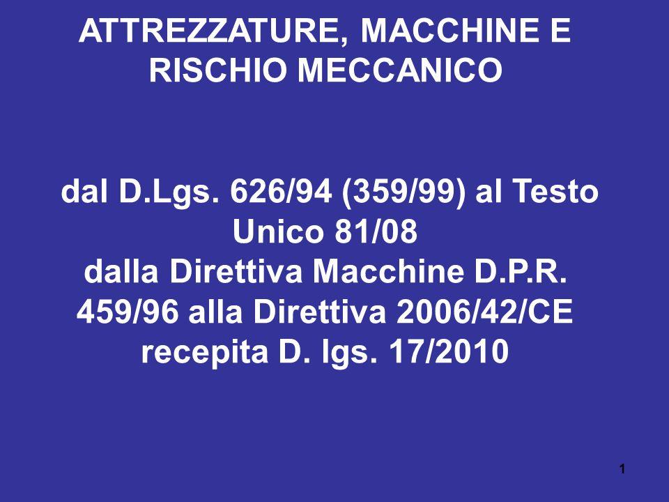 32 Rischio Meccanico (Titolo III capo I) Le macchine con dichiarazione di conformità e marchio CE si presumono conformi ai requisiti richiesti dalla Direttiva Macchine, quando: - sono conformi ai requisiti essenziali di sicurezza di cui all allegato 1 (UNI EN 292/A1) - sono costruite in conformità alle norme armonizzate che le riguardano (UNI EN 292/A1)