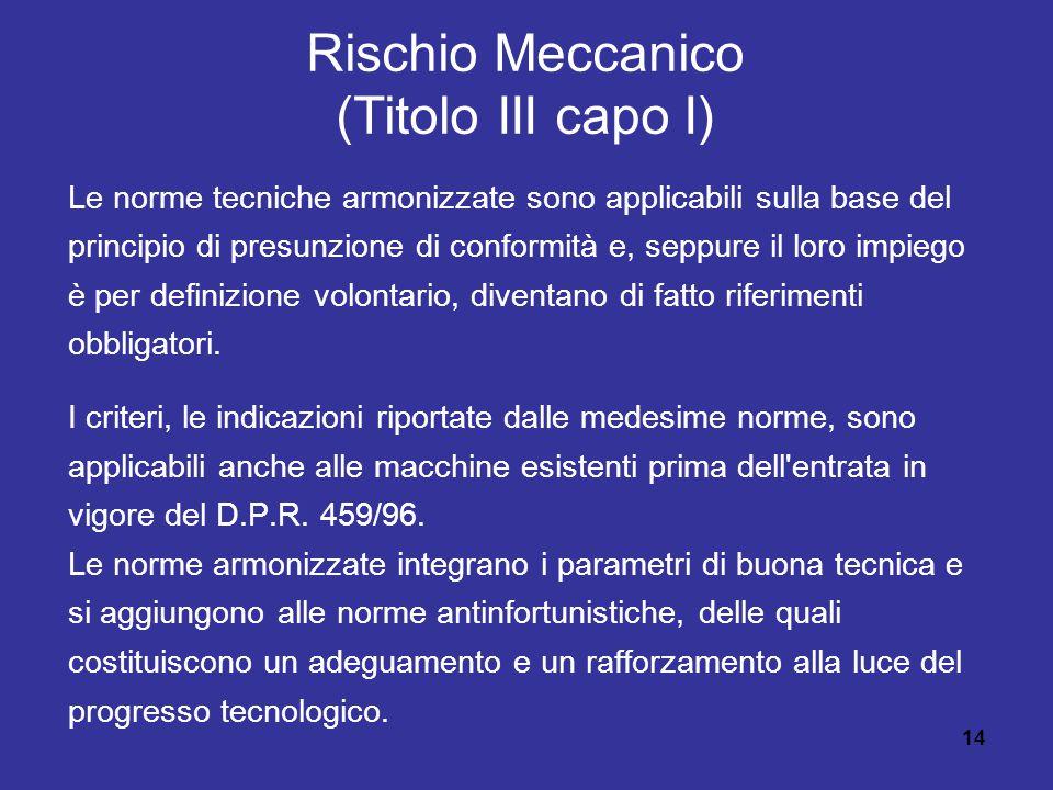 14 Rischio Meccanico (Titolo III capo I) Le norme tecniche armonizzate sono applicabili sulla base del principio di presunzione di conformità e, seppure il loro impiego è per definizione volontario, diventano di fatto riferimenti obbligatori.
