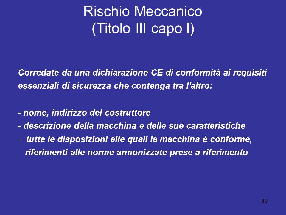 30 Rischio Meccanico (Titolo III capo I) Corredate da una dichiarazione CE di conformità ai requisiti essenziali di sicurezza che contenga tra l altro: - nome, indirizzo del costruttore - descrizione della macchina e delle sue caratteristiche -tutte le disposizioni alle quali la macchina è conforme, riferimenti alle norme armonizzate prese a riferimento