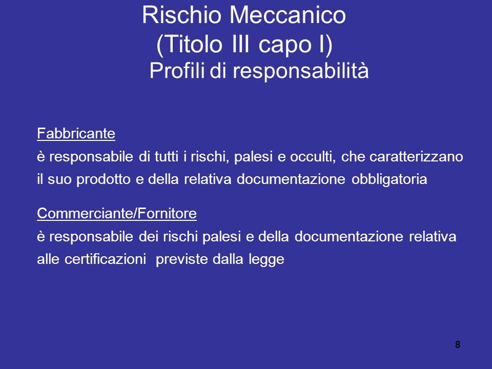 8 Rischio Meccanico (Titolo III capo I) Profili di responsabilità Fabbricante è responsabile di tutti i rischi, palesi e occulti, che caratterizzano il suo prodotto e della relativa documentazione obbligatoria Commerciante/Fornitore è responsabile dei rischi palesi e della documentazione relativa alle certificazioni previste dalla legge