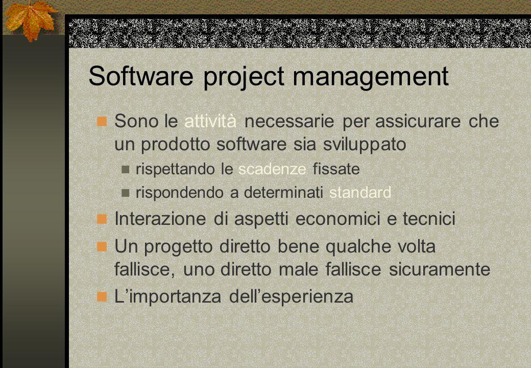 Sono le attività necessarie per assicurare che un prodotto software sia sviluppato rispettando le scadenze fissate rispondendo a determinati standard Interazione di aspetti economici e tecnici Un progetto diretto bene qualche volta fallisce, uno diretto male fallisce sicuramente L'importanza dell'esperienza Software project management