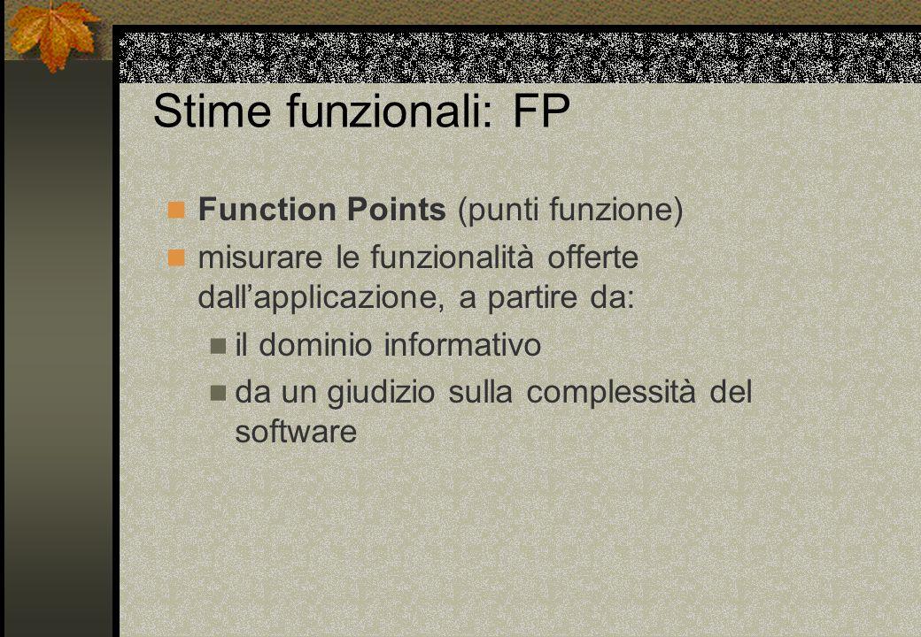 Stime funzionali: FP Function Points (punti funzione) misurare le funzionalità offerte dall'applicazione, a partire da: il dominio informativo da un giudizio sulla complessità del software