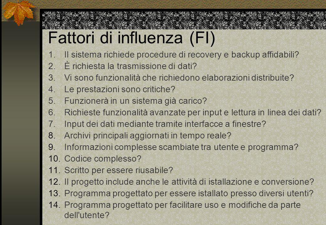 Fattori di influenza (FI) 1.Il sistema richiede procedure di recovery e backup affidabili.