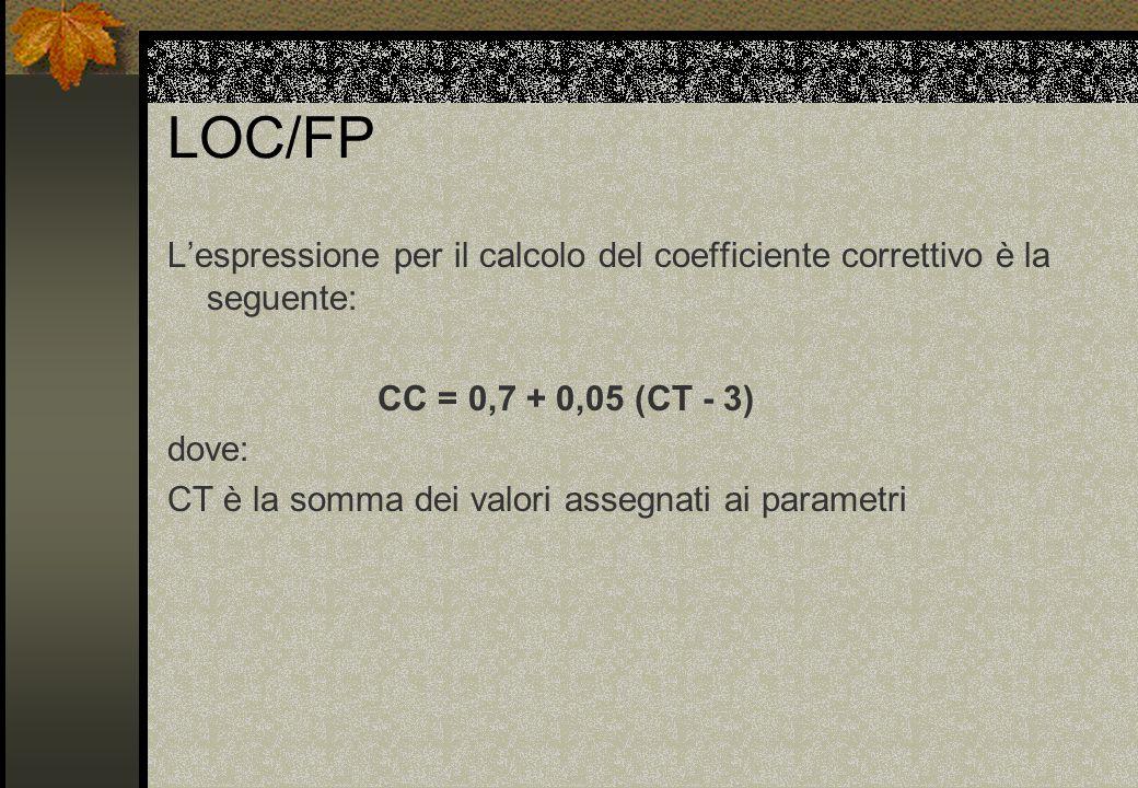 LOC/FP L'espressione per il calcolo del coefficiente correttivo è la seguente: CC = 0,7 + 0,05 (CT - 3) dove: CT è la somma dei valori assegnati ai parametri
