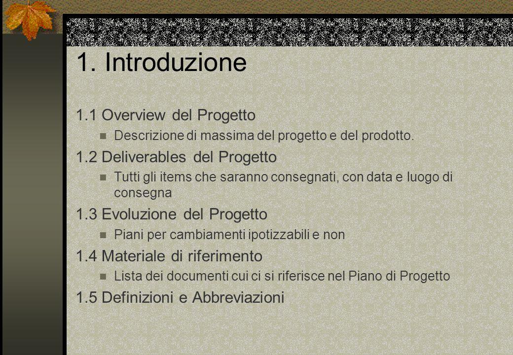 1. Introduzione 1.1 Overview del Progetto Descrizione di massima del progetto e del prodotto.