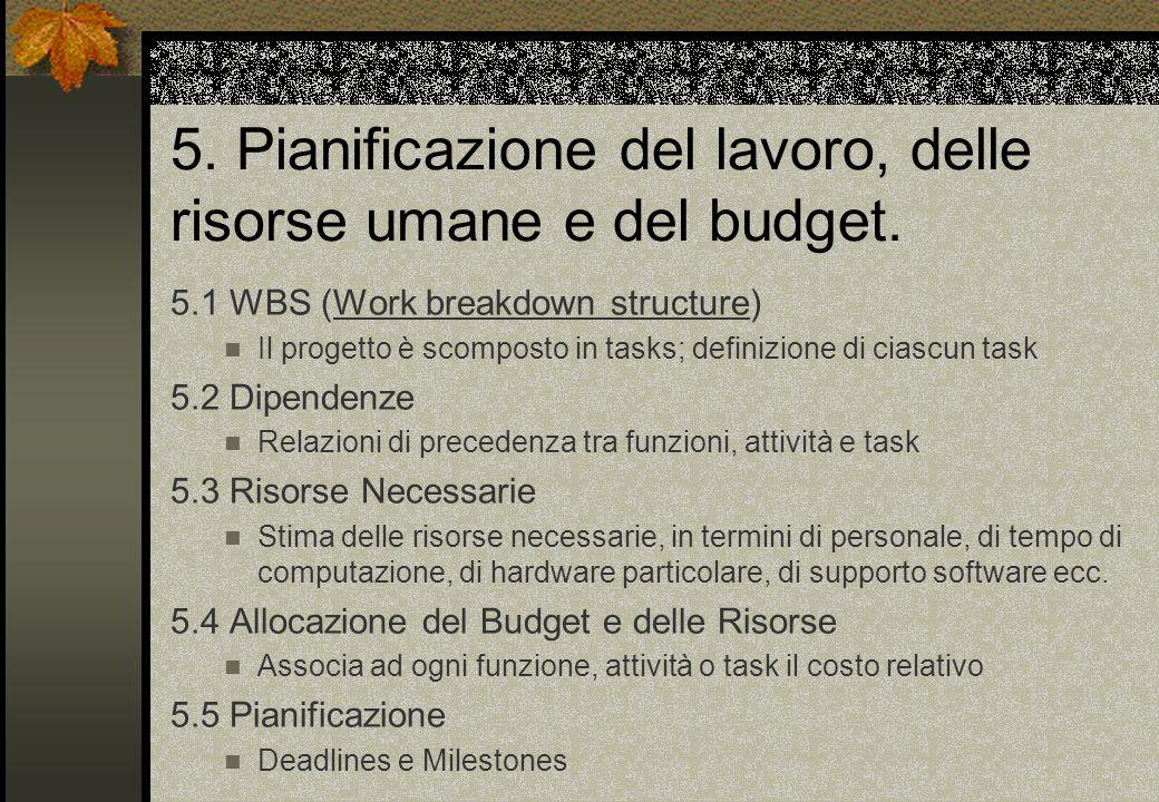 5. Pianificazione del lavoro, delle risorse umane e del budget.
