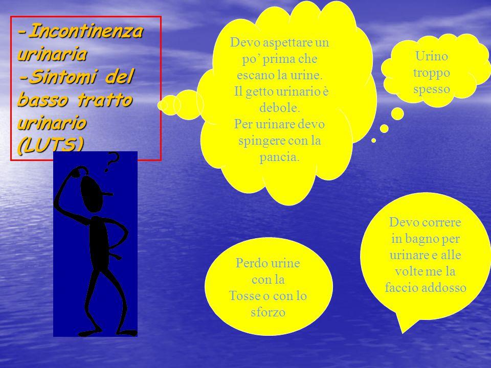 -Incontinenza urinaria -Sintomi del basso tratto urinario (LUTS) Perdo urine con la Tosse o con lo sforzo Urino troppo spesso Devo correre in bagno pe