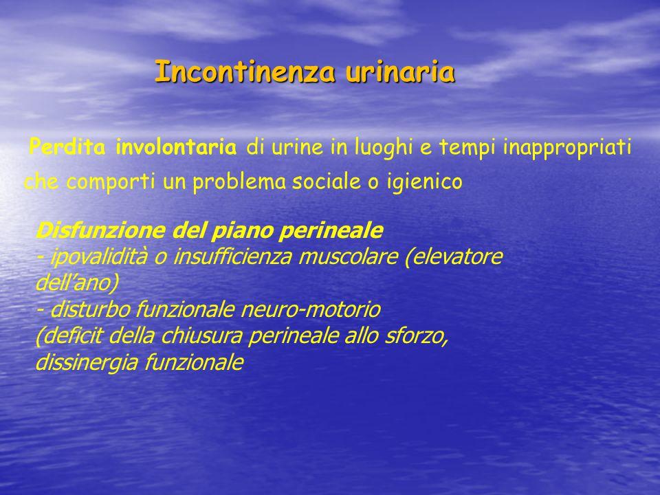 Incontinenza urinaria Incontinenza urinaria Incontinenza urinaria da sforzo: perdita involontaria di urine conseguente a sforzi, aumenti della pressione addominale, in assenza di stiimolo minzionale Incontinenza urinaria da urgenza: perdita involontaria di urine accompagnata da o immediatamente preceduta da urgenza Incontinenza urinaria mista: perdita involontaria di urine associata ad urgenza e a sforzi