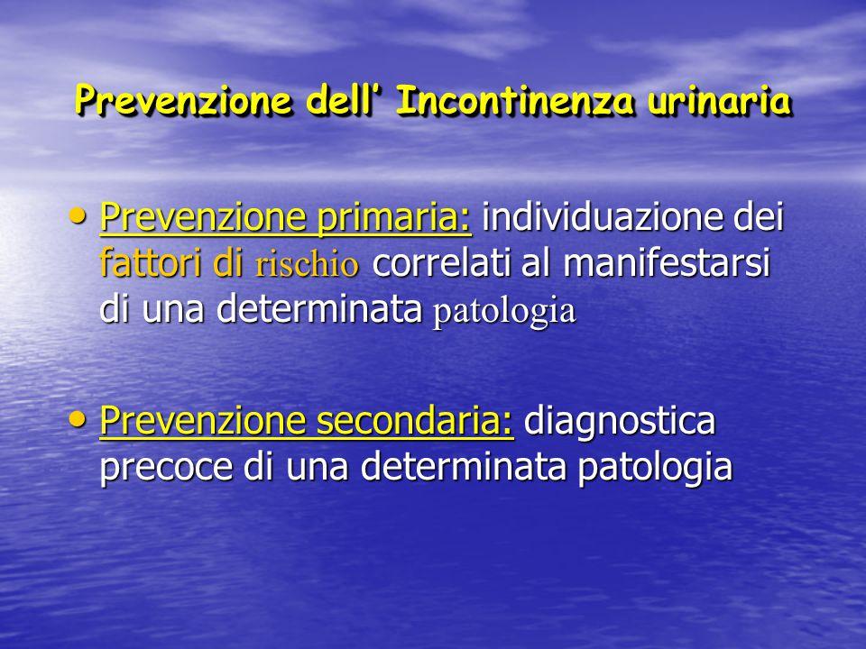 Fattori di rischio per IU nella donna Età Età – Cambiamenti strutturali pelvici e vescicali – Aumentata prevalenza di fattori correlati come il diabete, episodi cerebrovascolari e malattie polmonari Sintomi urinari Sintomi urinari – Forte correlazione con LUTS (prevalenza 15-30%) (prevalenza 15-30%) Obesità Obesità – Chiaro fattore di rischio