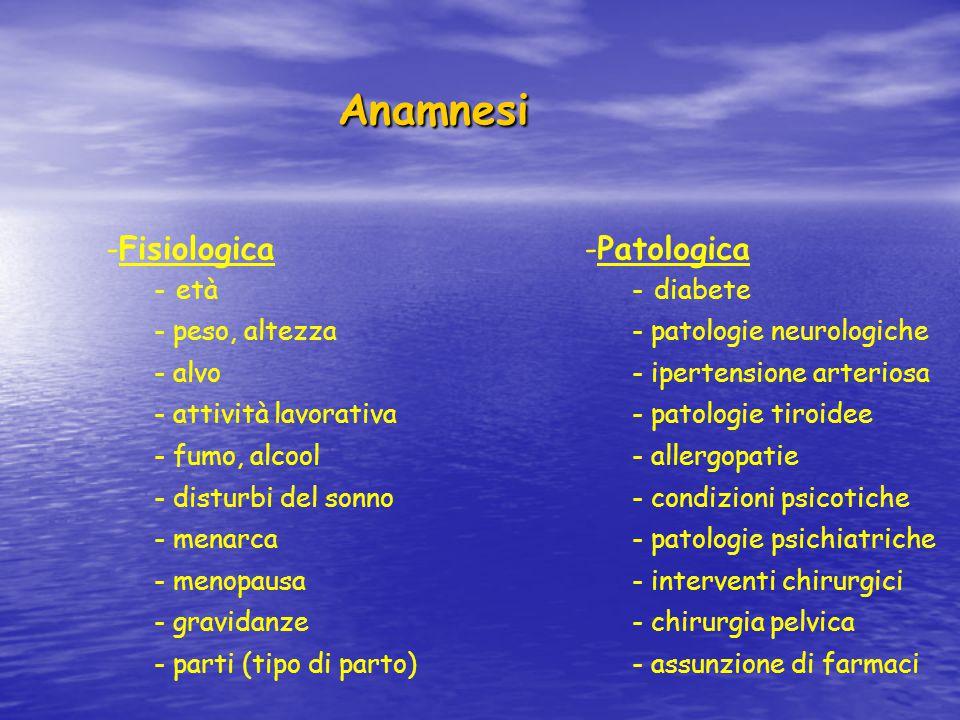 Anamnesi Anamnesi -Fisiologica - età - peso, altezza - alvo - attività lavorativa - fumo, alcool - disturbi del sonno - menarca - menopausa - gravidan