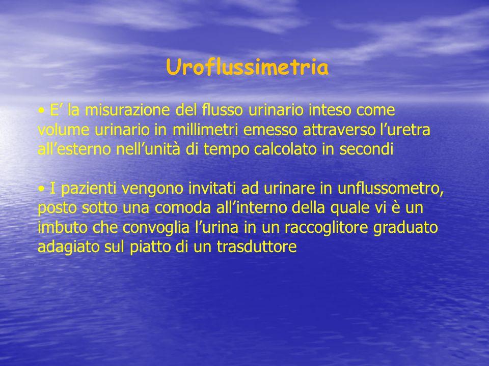 Uroflussimetria E' la misurazione del flusso urinario inteso come volume urinario in millimetri emesso attraverso l'uretra all'esterno nell'unità di t