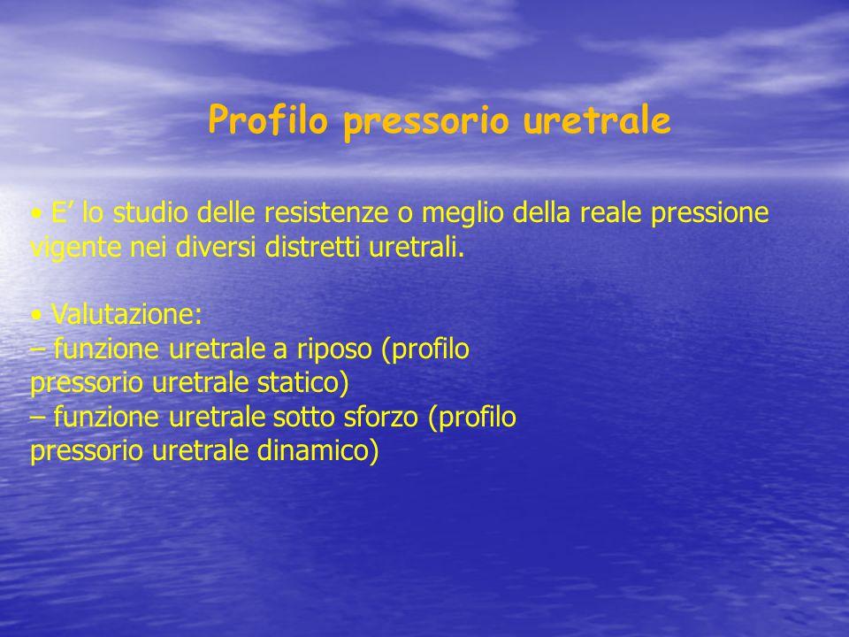 Profilo pressorio uretrale E' lo studio delle resistenze o meglio della reale pressione vigente nei diversi distretti uretrali. Valutazione: – funzion