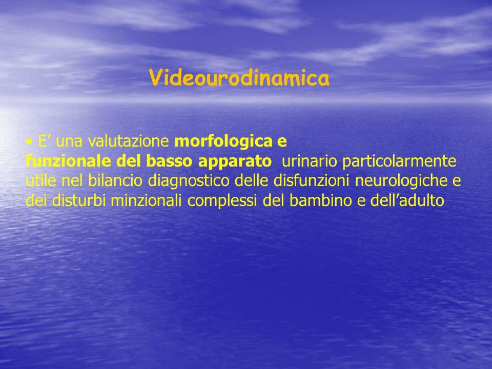 Videourodinamica E' una valutazione morfologica e funzionale del basso apparato urinario particolarmente utile nel bilancio diagnostico delle disfunzi