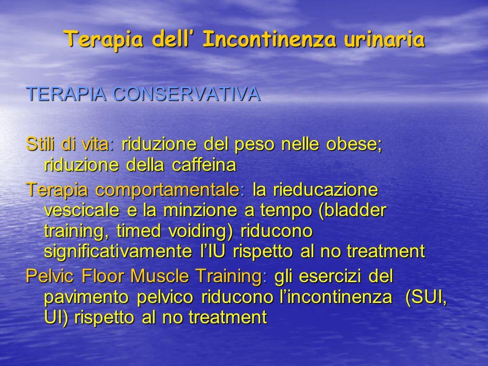 Terapia dell' Incontinenza urinaria TERAPIA CONSERVATIVA Stili di vita: riduzione del peso nelle obese; riduzione della caffeina Terapia comportamenta