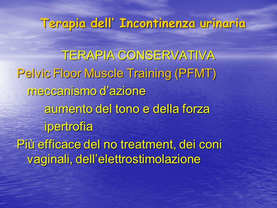 Terapia dell' Incontinenza urinaria TERAPIA CONSERVATIVA La terapia conservativa è efficace e non produce effetti collaterali.