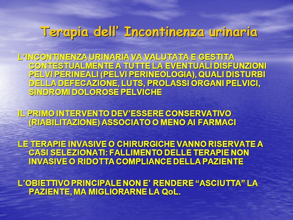 Terapia dell' Incontinenza urinaria Terapia dell' Incontinenza urinaria L'INCONTINENZA URINARIA VA VALUTATA E GESTITA CONTESTUALMENTE A TUTTE LA EVENT