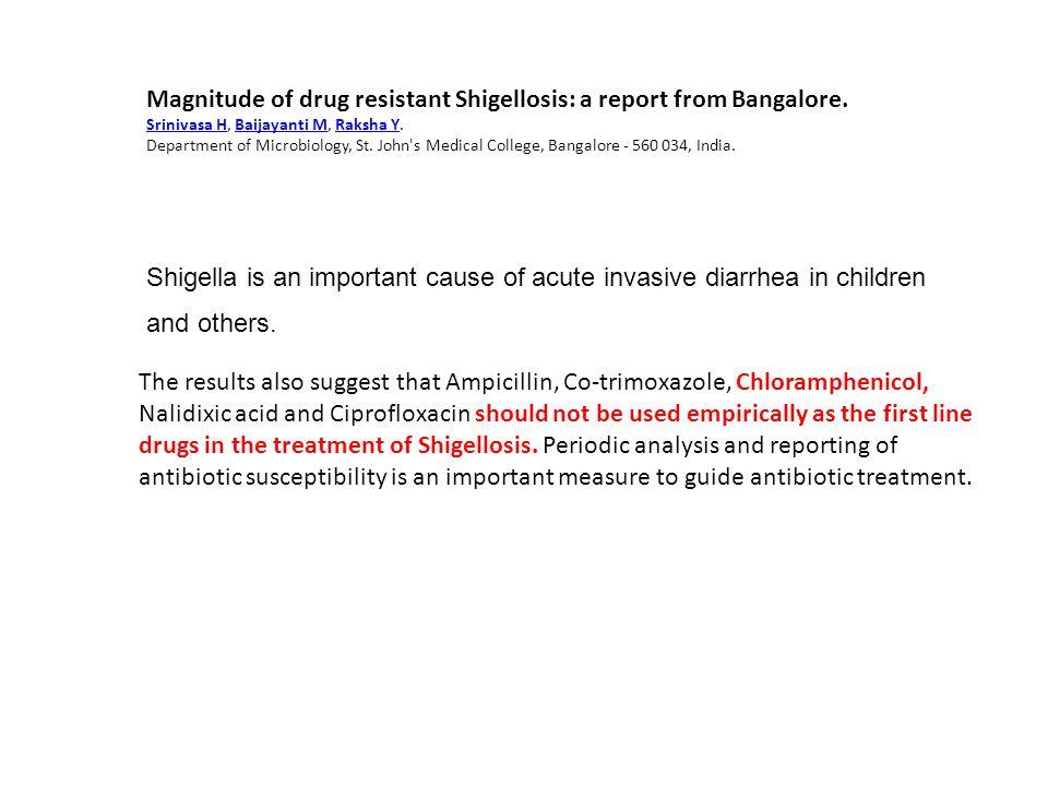 Magnitude of drug resistant Shigellosis: a report from Bangalore. Srinivasa HSrinivasa H, Baijayanti M, Raksha Y.Baijayanti MRaksha Y Department of Mi