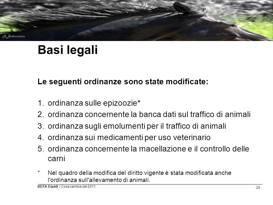 25 BDTA Equidi | Cosa cambia dal 2011 Basi legali Le seguenti ordinanze sono state modificate: 1.ordinanza sulle epizoozie* 2.ordinanza concernente la