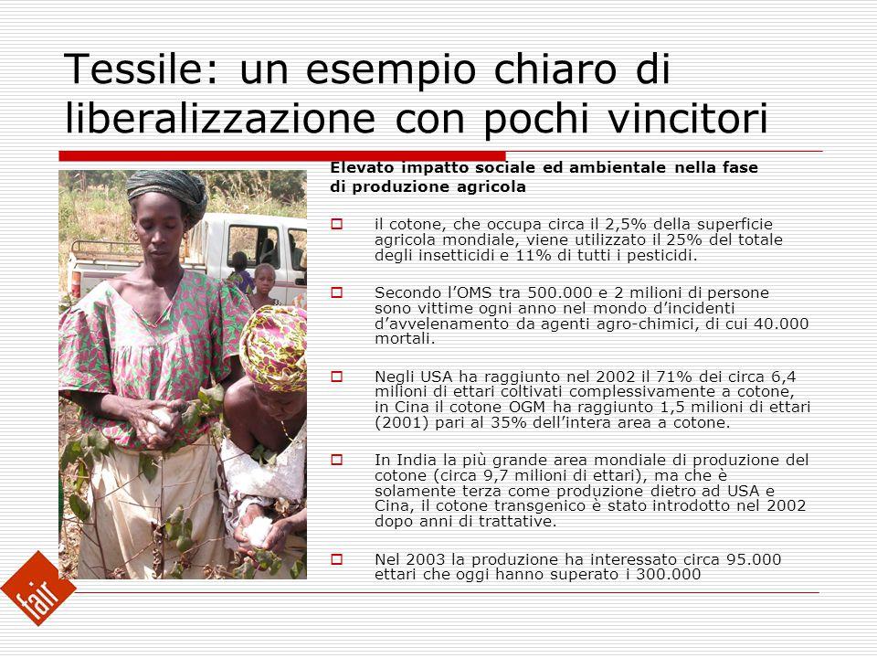 Tessile: un esempio chiaro di liberalizzazione con pochi vincitori Elevato impatto sociale ed ambientale nella fase di produzione agricola  il cotone
