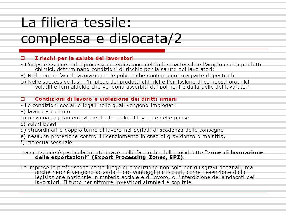 La filiera tessile: complessa e dislocata/2  I rischi per la salute dei lavoratori - L'organizzazione e dei processi di lavorazione nell'industria te