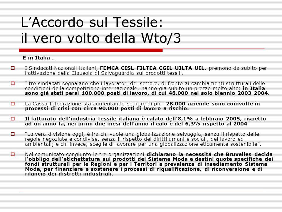 L'Accordo sul Tessile: il vero volto della Wto/3 E in Italia …  I Sindacati Nazionali italiani, FEMCA-CISL FILTEA-CGIL UILTA-UIL, premono da subito p