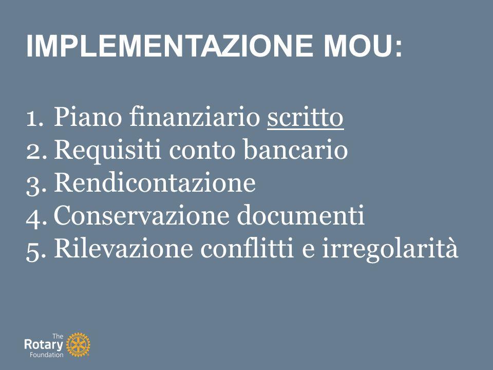 IMPLEMENTAZIONE MOU: 1.Piano finanziario scritto 2.Requisiti conto bancario 3.Rendicontazione 4.Conservazione documenti 5.Rilevazione conflitti e irregolarità
