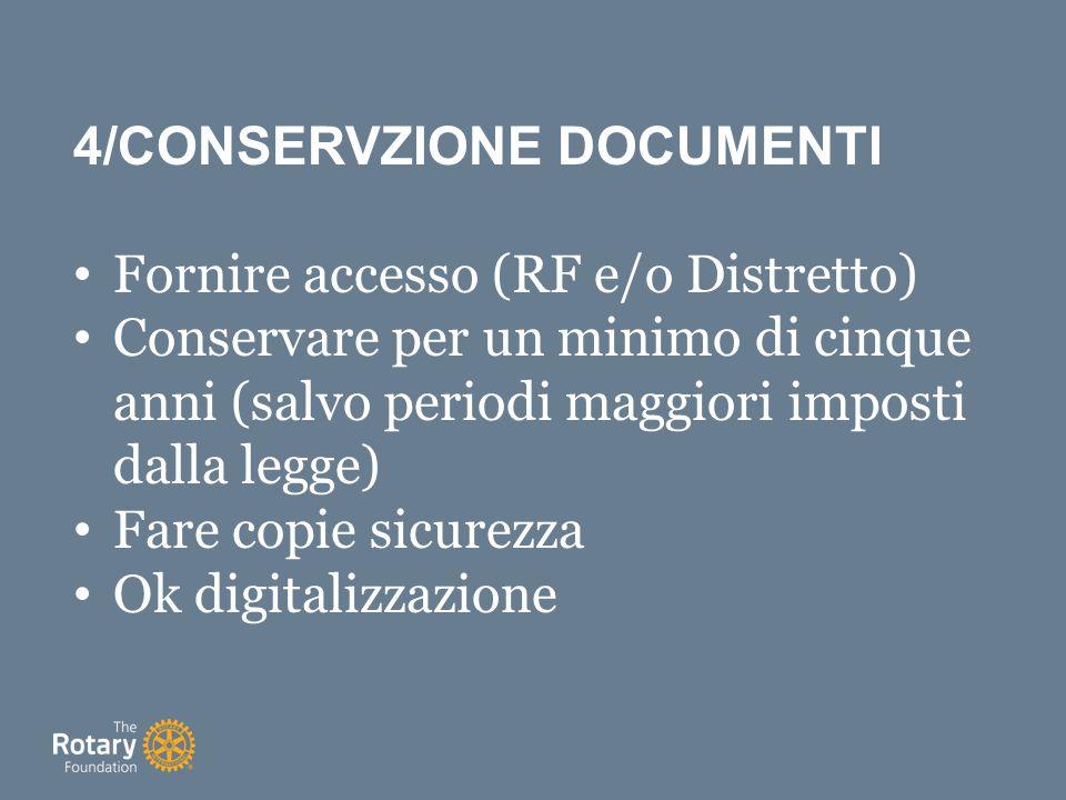 4/CONSERVZIONE DOCUMENTI Fornire accesso (RF e/o Distretto) Conservare per un minimo di cinque anni (salvo periodi maggiori imposti dalla legge) Fare copie sicurezza Ok digitalizzazione
