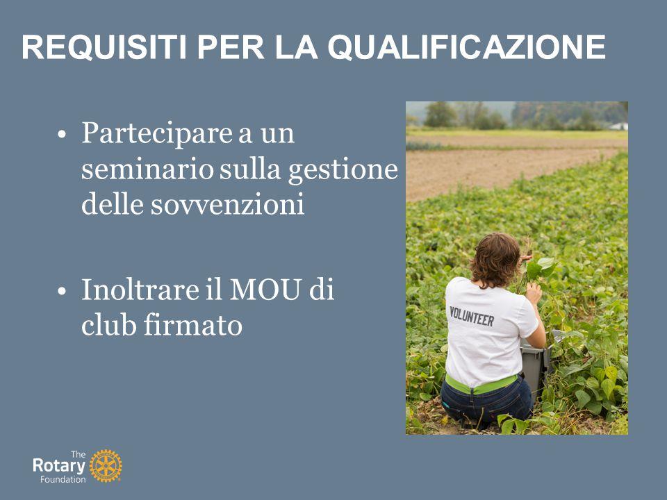 Partecipare a un seminario sulla gestione delle sovvenzioni Inoltrare il MOU di club firmato REQUISITI PER LA QUALIFICAZIONE