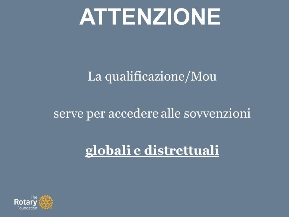 La qualificazione/Mou serve per accedere alle sovvenzioni globali e distrettuali ATTENZIONE