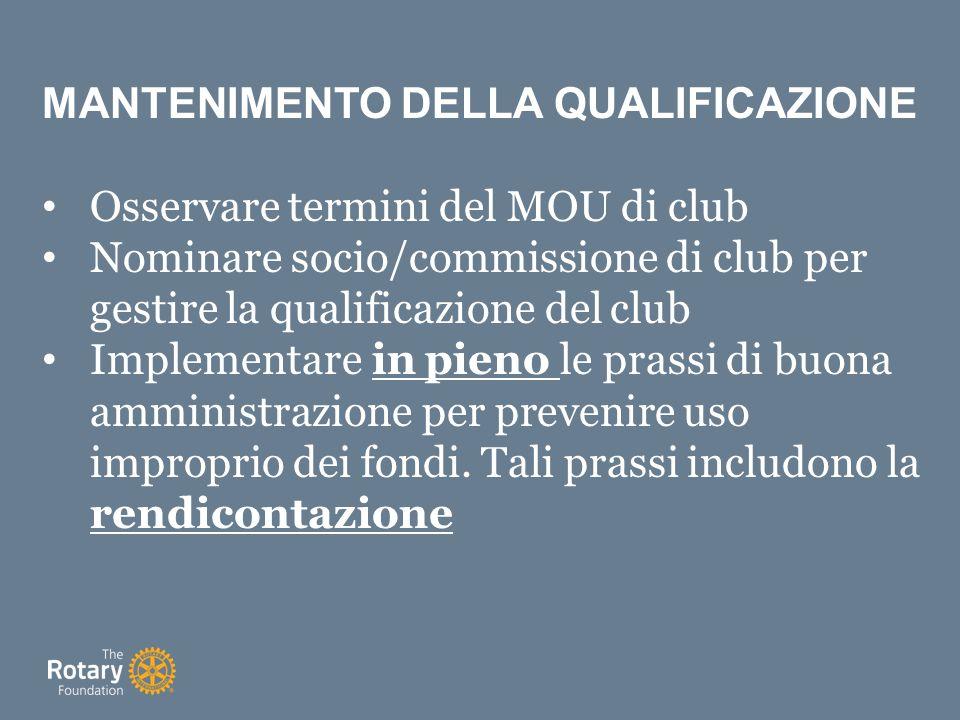 MANTENIMENTO DELLA QUALIFICAZIONE Osservare termini del MOU di club Nominare socio/commissione di club per gestire la qualificazione del club Implementare in pieno le prassi di buona amministrazione per prevenire uso improprio dei fondi.