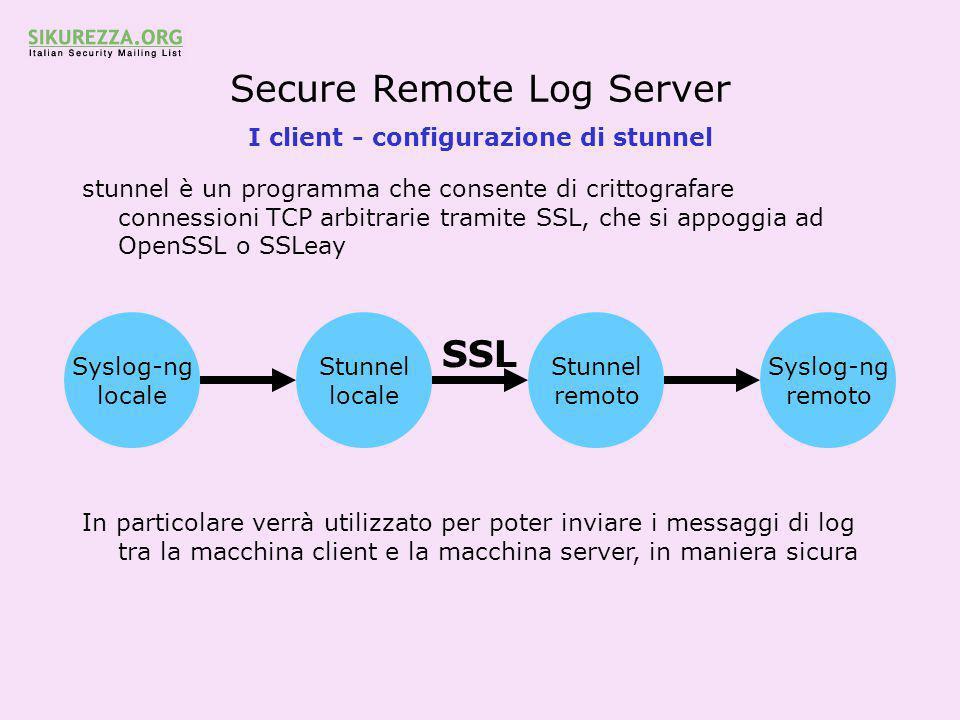 Secure Remote Log Server I client - configurazione di stunnel stunnel è un programma che consente di crittografare connessioni TCP arbitrarie tramite SSL, che si appoggia ad OpenSSL o SSLeay In particolare verrà utilizzato per poter inviare i messaggi di log tra la macchina client e la macchina server, in maniera sicura Syslog-ng locale Stunnel locale Stunnel remoto Syslog-ng remoto SSL
