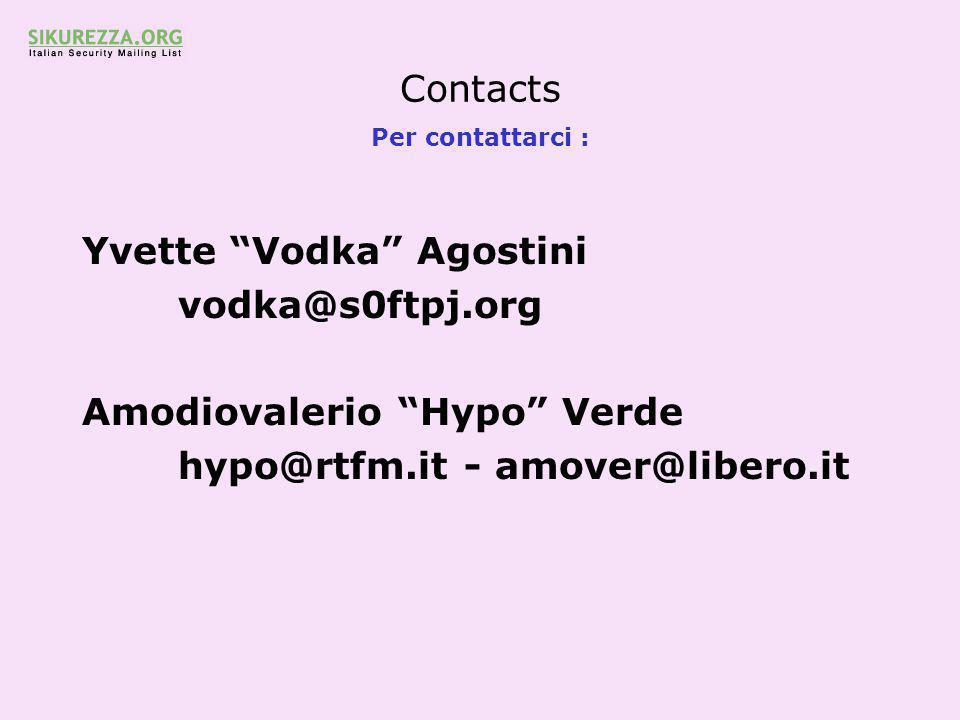 Contacts Per contattarci : Yvette Vodka Agostini vodka@s0ftpj.org Amodiovalerio Hypo Verde hypo@rtfm.it - amover@libero.it