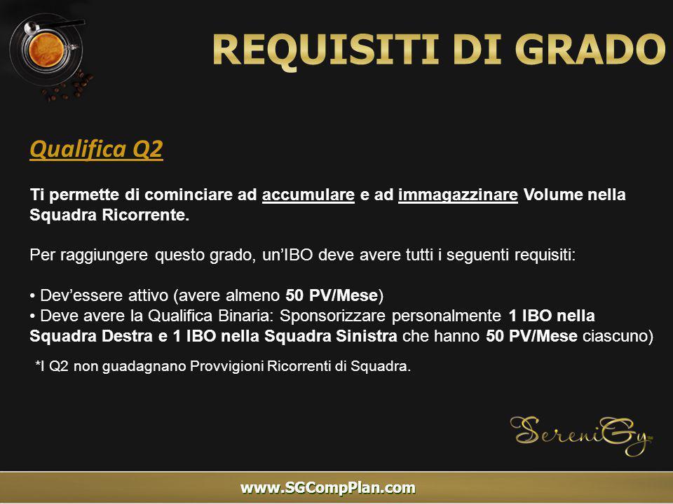 www.SGCompPlan.com Qualifica Q2 Ti permette di cominciare ad accumulare e ad immagazzinare Volume nella Squadra Ricorrente.