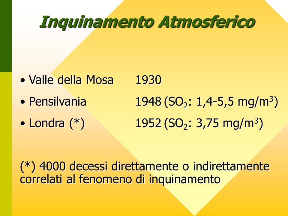 Inquinamento Atmosferico Valle della Mosa1930 Valle della Mosa1930 Pensilvania1948(SO 2 : 1,4-5,5 mg/m 3 ) Pensilvania1948(SO 2 : 1,4-5,5 mg/m 3 ) Londra (*)1952(SO 2 : 3,75 mg/m 3 ) Londra (*)1952(SO 2 : 3,75 mg/m 3 ) (*) 4000 decessi direttamente o indirettamente correlati al fenomeno di inquinamento