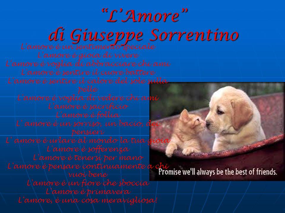 """""""L'Amore"""" di Giuseppe Sorrentino L'amore è un sentimento speciale L'amore è gioia di vivere L'amore è voglia di abbracciare chi ami L'amore è sentire"""