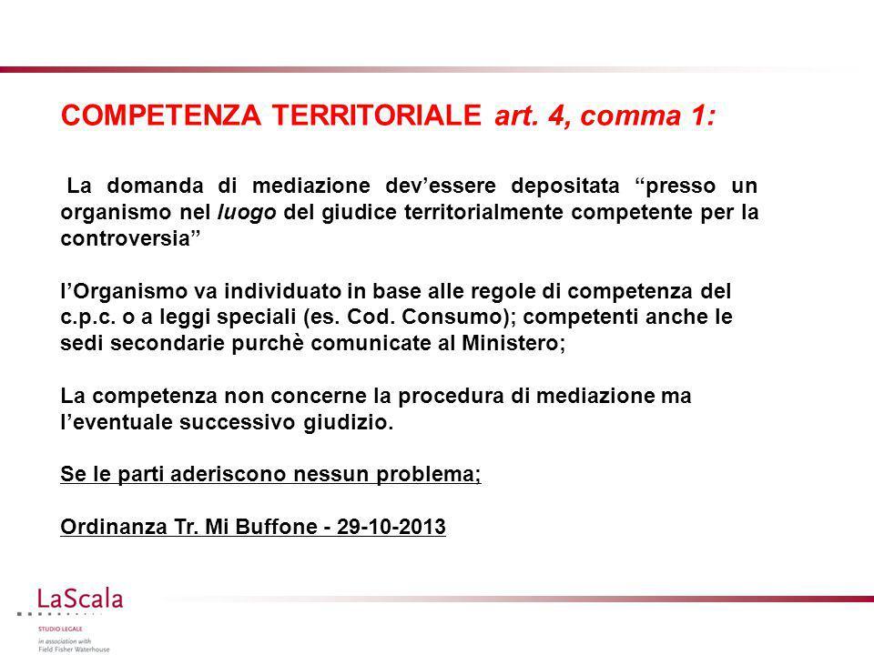 """COMPETENZA TERRITORIALE art. 4, comma 1: La domanda di mediazione dev'essere depositata """"presso un organismo nel luogo del giudice territorialmente co"""