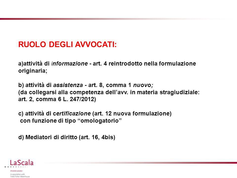 RUOLO DEGLI AVVOCATI: a)attività di informazione - art. 4 reintrodotto nella formulazione originaria; b) attività di assistenza - art. 8, comma 1 nuov